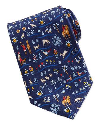 Silk Multi-Print Tie, Blue/Red
