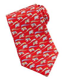 Large Elephant-Print Tie, Blue/Red