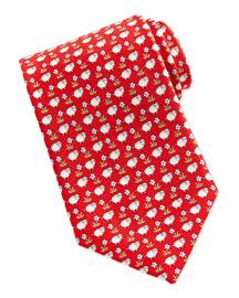 Sheep/Flower-Print Tie, Red