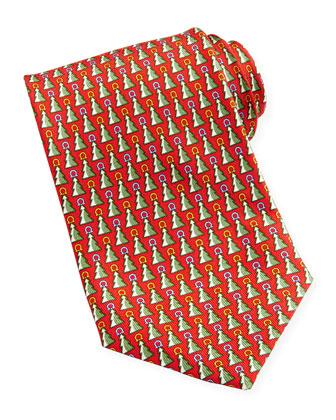 Christmas Tree Gancini Tie, Red