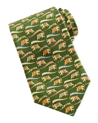 Large Elephant-Print Tie, Brown/Green
