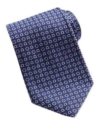 Gancini Flower-Print Tie, Red/Blue