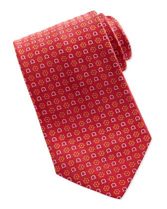 Gancini Flower-Print Tie, Orange