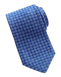 Gancini Flower-Print Tie, Blue