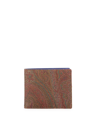 Paisley Printed Leather Wallet, Multi