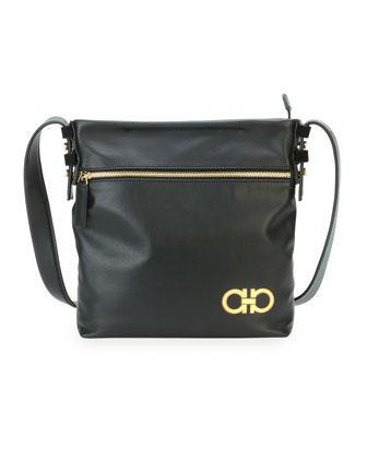 Men's Nevada Leather Crossbody Bag, Black