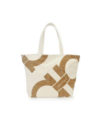 Mustique Canvas Beach Bag, Gray