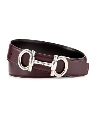 Reversible Gancini-Buckle Belt, Red/Black