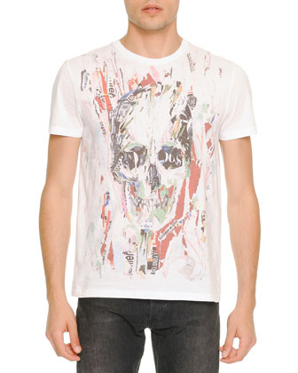Painted Skull-Print Tee, White
