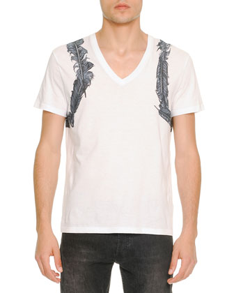 Feather-Harness-Print V-Neck Tee, White