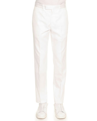 Slim Cotton Trousers, White