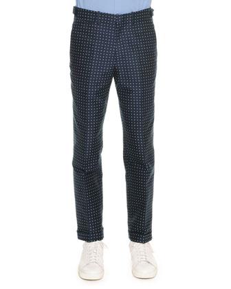 Polka-Dot Jacquard Trousers, Blue
