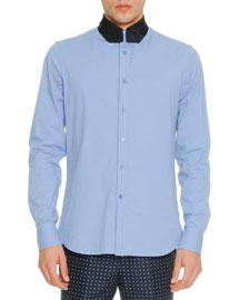 Poplin Shirt with Necktie-Collar, Blue