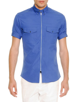 Zip-Placket Short-Sleeve Poplin Shirt