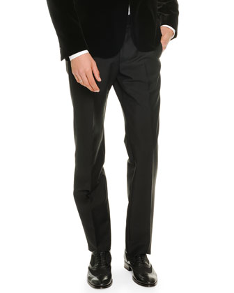 Side-Stripe Tuxedo Pants, Black