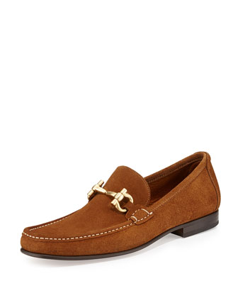 Gold Bit Suede Loafer, Brown