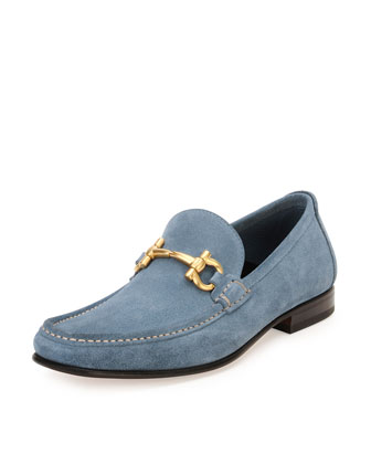 Suede Gancini Loafer, Light Blue
