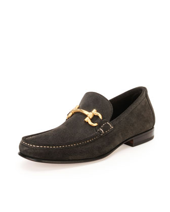 Suede Gancini Loafer, Gray