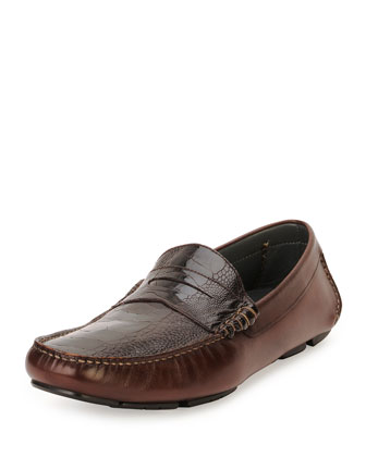 Calfskin and Ostrich Leg Penny Driver, Chocolate
