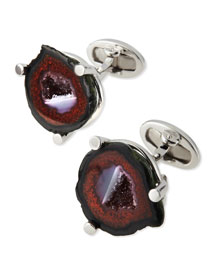 Agate Cuff Links, Red