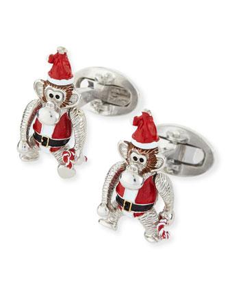 Santa Monkey Cuff Links