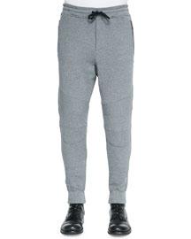 Ashdown Tapered Moto Sweatpants, Mid Gray