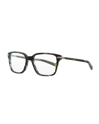 Men's Stone Rectangle Fashion Glasses, Matte Ebonywood
