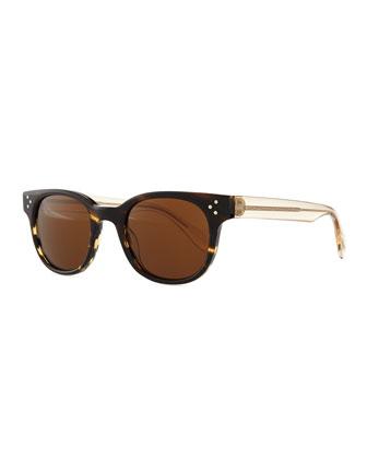 Afton Round Two-Tone Sunglasses, Coco