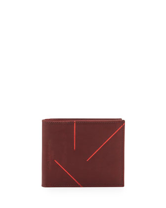 Leather Wallet with Metallic Lines, Wine