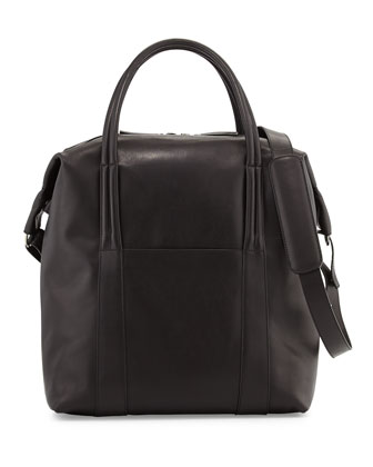 Men's Leather Zip-Top Tote Bag
