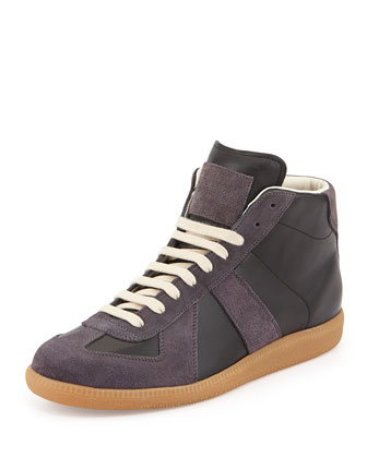 Replica Mid-Top Leather Sneaker, Gray/Black