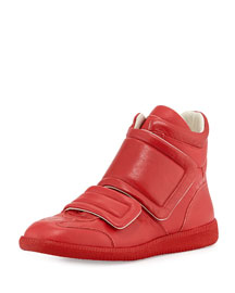 Clinic Two-Strap High-Top Sneaker, Red