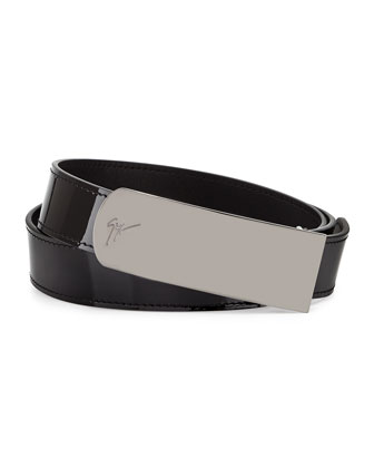 Men's Patent Leather Plaque Belt