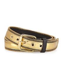 Men's Metallic Zipper-Trim Belt