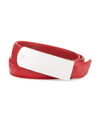 Men's Quilted Leather Plaque Belt, Red