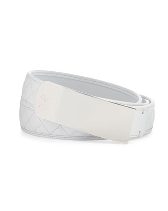 Men's Quilted Leather Plaque Belt, White