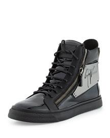 Men's Patent Logo-Plate High-Top Sneaker, Black