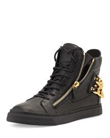 Chain-Back High-Top Sneaker