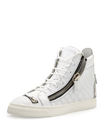 Quilted High-Top Sneaker w/Zippers