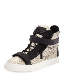 Men's Snake-Print High-Top Sneaker, Natural