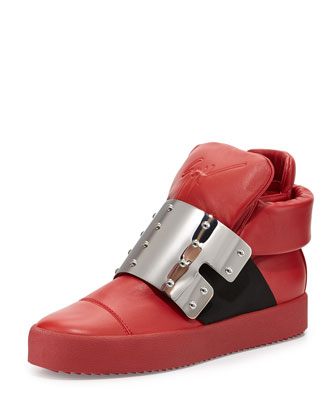 Men's Leather High-Top with Plate Front, Red