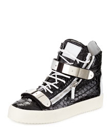 Patent Croc-Embossed High-Top Sneaker, Black