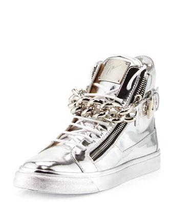 Men's Metallic Chain & Zipper High-Top Sneaker, Silver