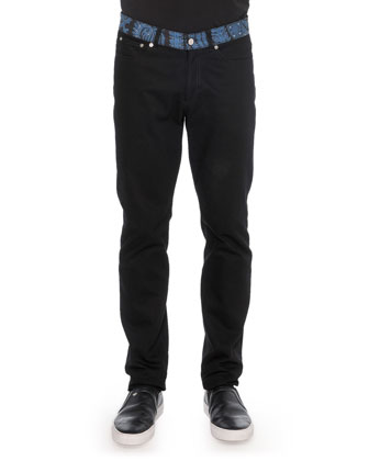 Paisley-Waist Denim Jeans