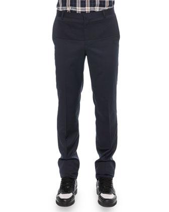 Wool Ottoman-Insert Trousers, Navy