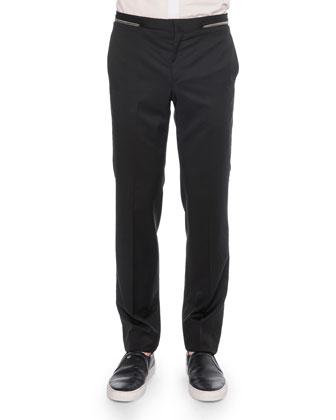 Zipper-Waist Trimmed Trousers, Black