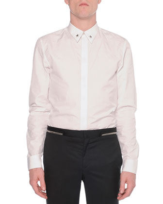 Metal-Star-Collar Woven Shirt, White