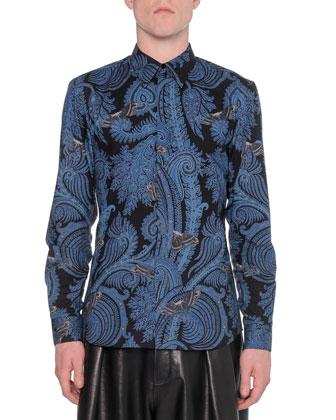Paisley-Print Button-Down Shirt, Blue