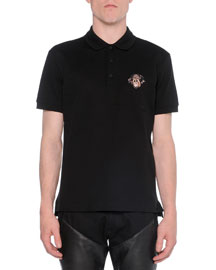 Polo with Rottweiler-Embroidery, Black