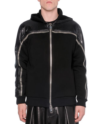 Nylon/Neoprene Zip-Up Sweatshirt, Black